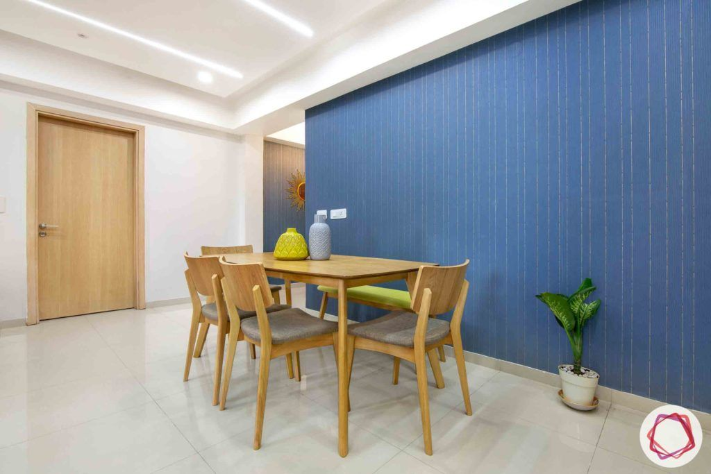 dlf new town heights-blue wallpaper designs-wooden dining set designs
