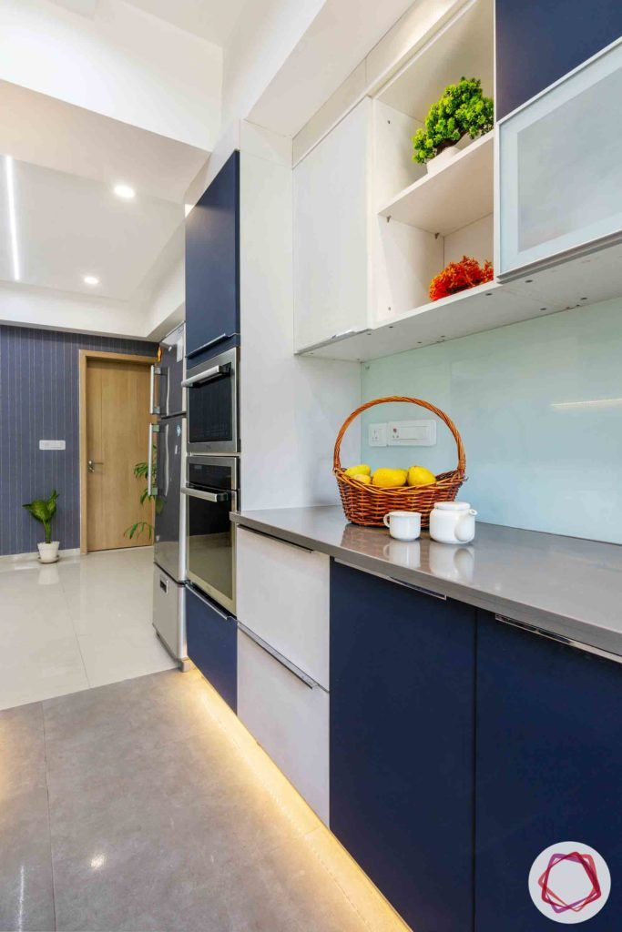 dlf new town heights-blue and white kitchen designs-profiling lighting designs