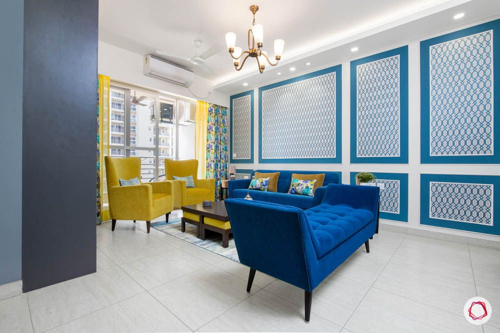 cleo county-living room-yellow and blue living room-wall trims