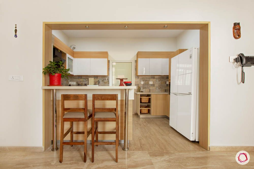 two toned kitchen designs-breakfast counter designs