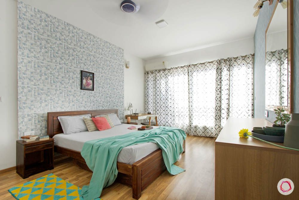 wooden bed designs-white and brown cabinet designs