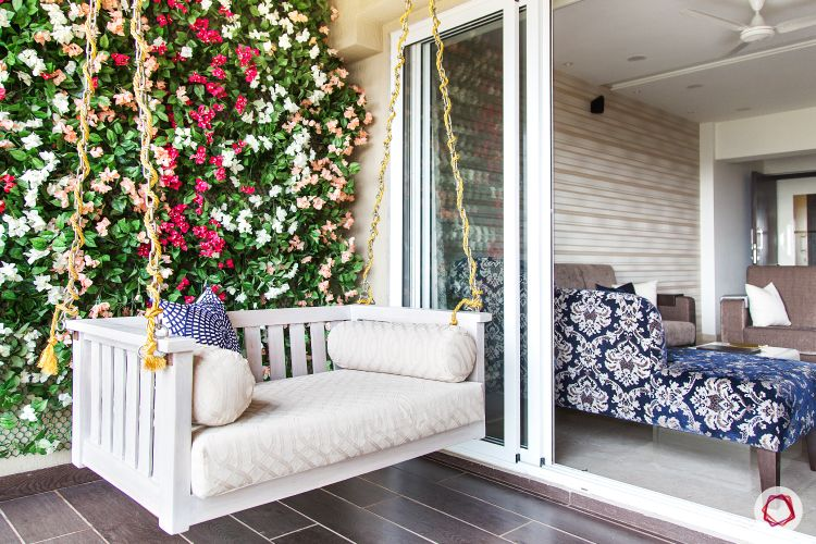 balcony garden-white wing-blue accent chair