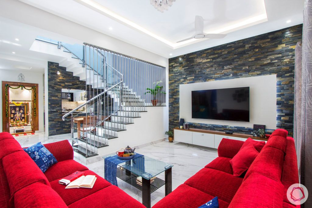 duplex house design-red sofa designs-stone wall designs