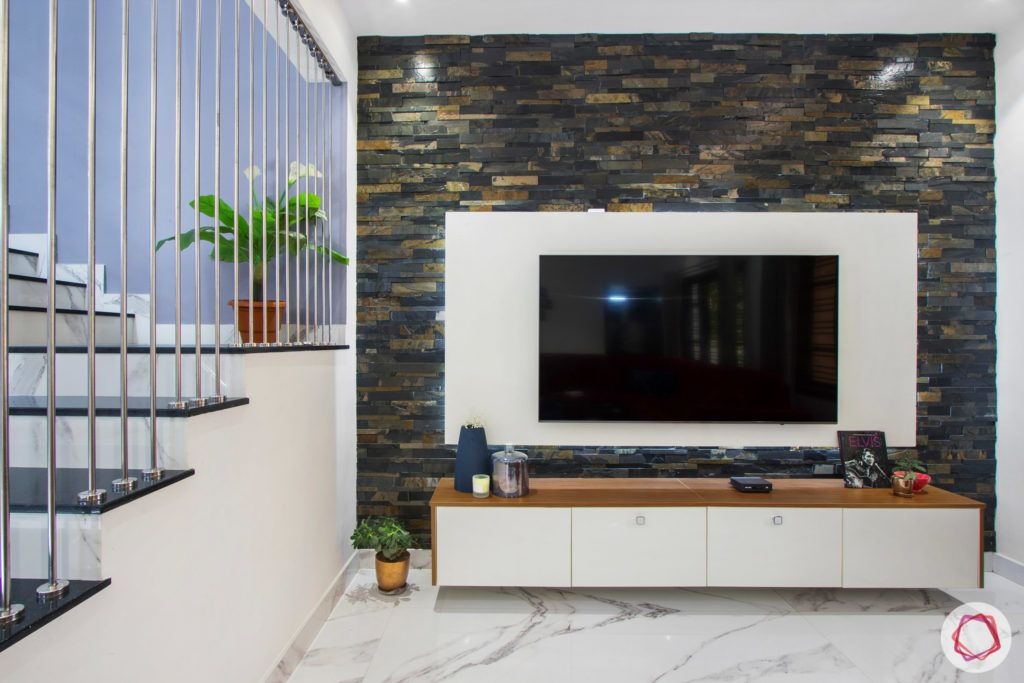 duplex house design-red sofa designs-TV unit designs