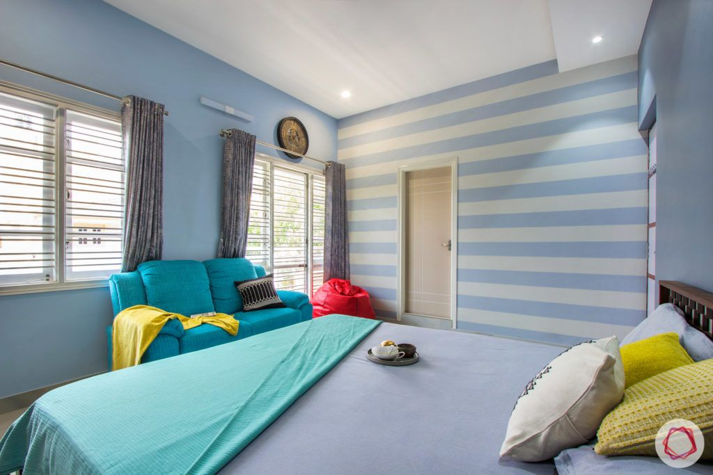 duplex house design-blue wall designs-wooden bed designs