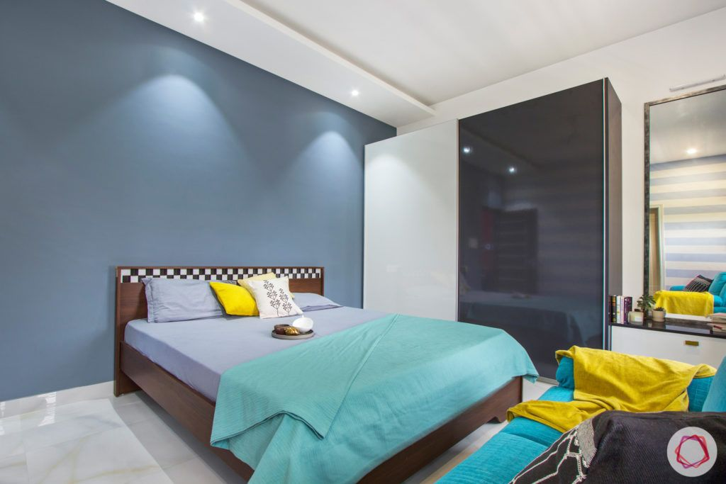 duplex house design-blue wall designs-sliding wardrobe designs