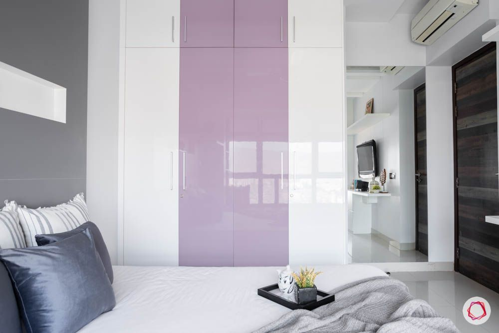 db woods-purple and white wardrobe-grey wall