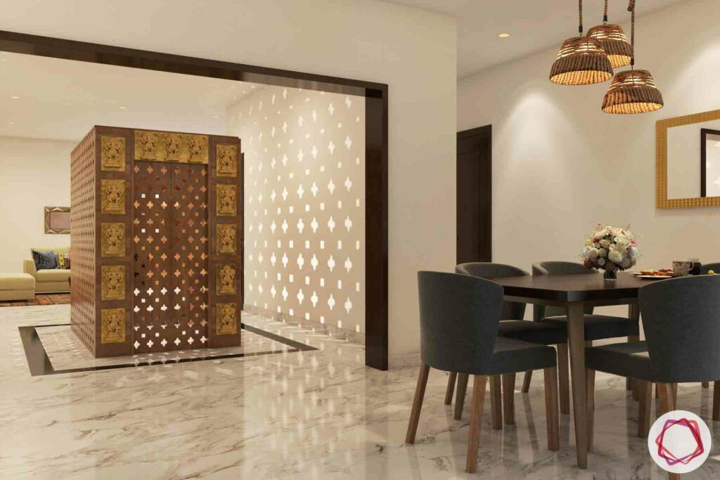 wooden temple-dining table designs-pooja room-chandelier