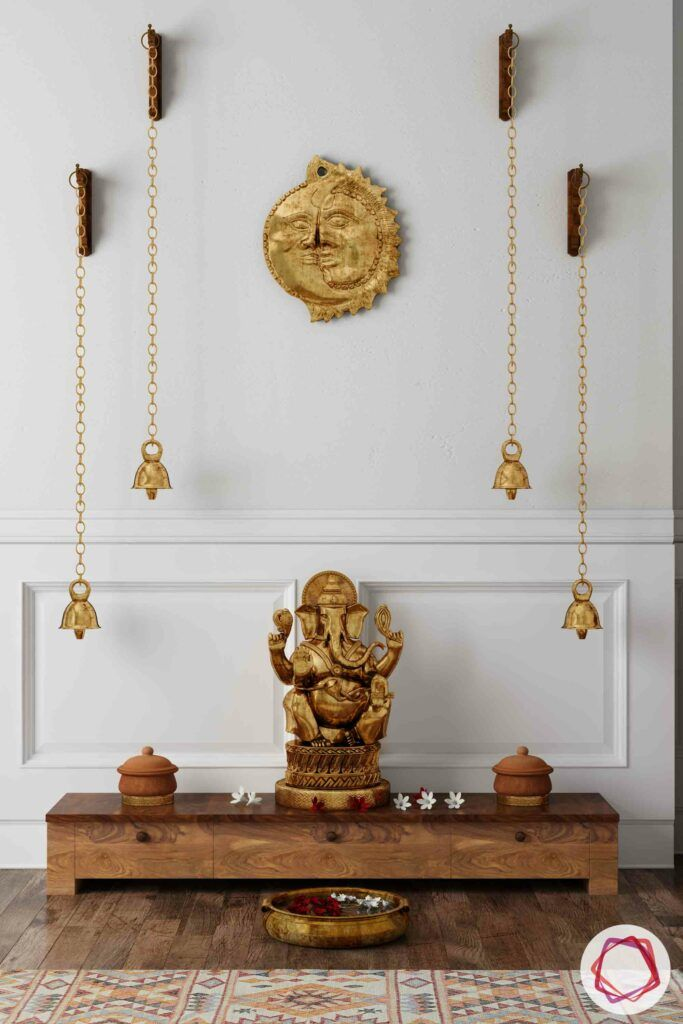 wooden temple-ganesha-bells-niche pooja room