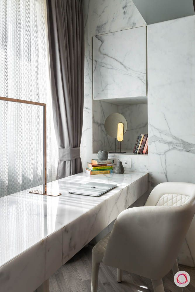 study-table-shelf-mirror-marble-books-light