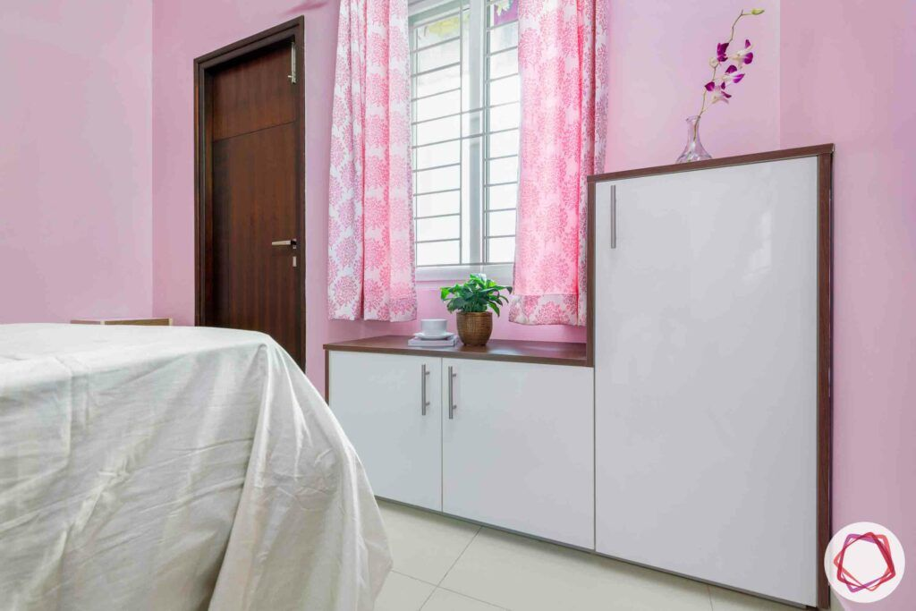 modular design-white cabinet designs-pink curtain designs