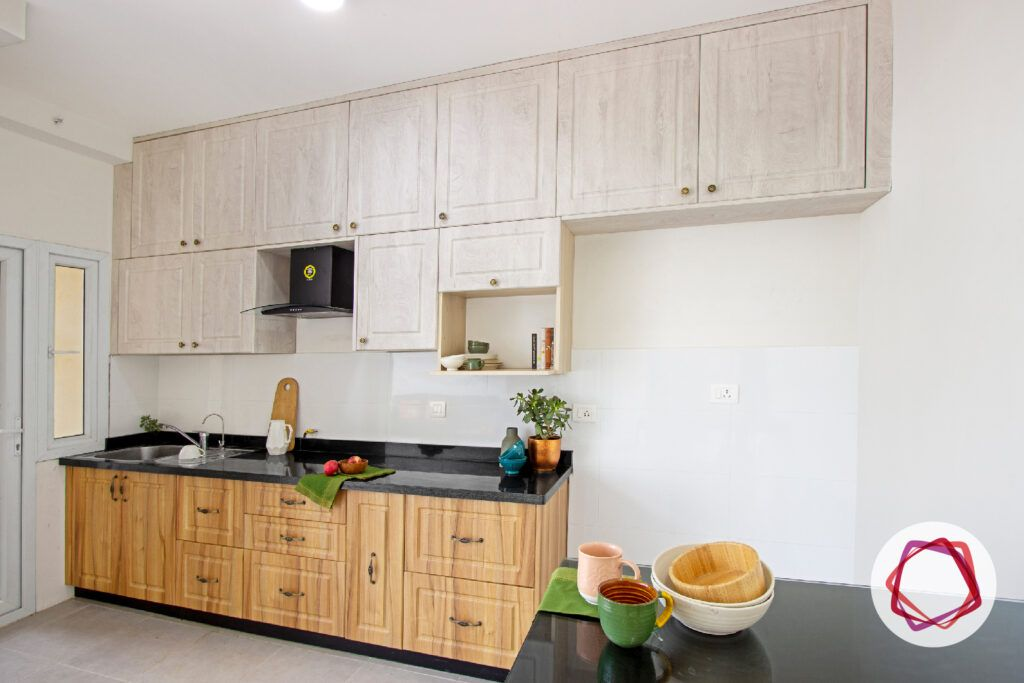 modular kitchen interior designers in bangalore-white and brown cabinets