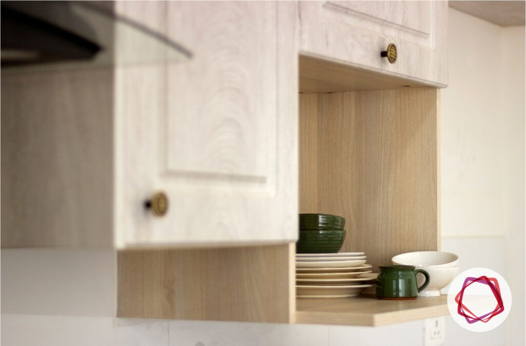 modular kitchen interior designers in bangalore-plates and cups-open shelf designs