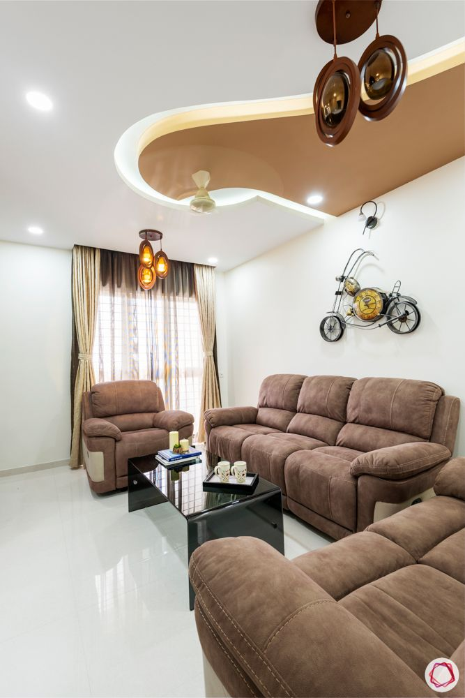 brown couch designs-false ceiling with colour designs
