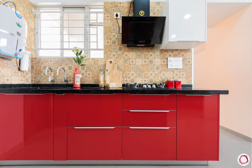 red kitchen designs-morrocan tiles for backsplash