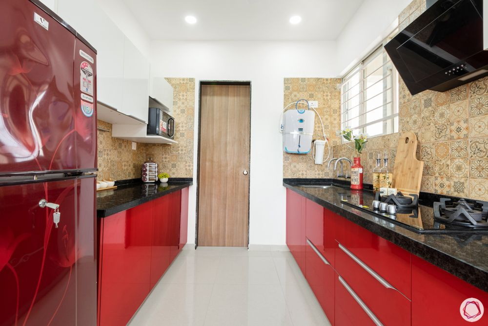 red kitchen designs-red and white cabinets