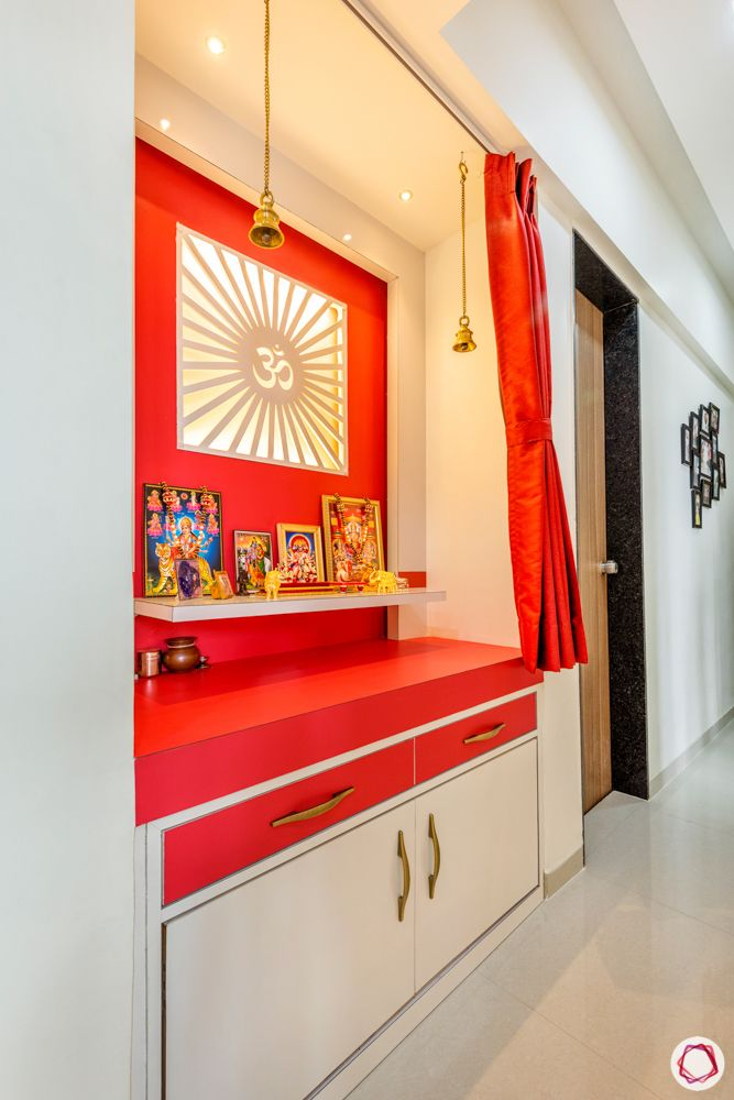 pooja room designs-red pooja room designs