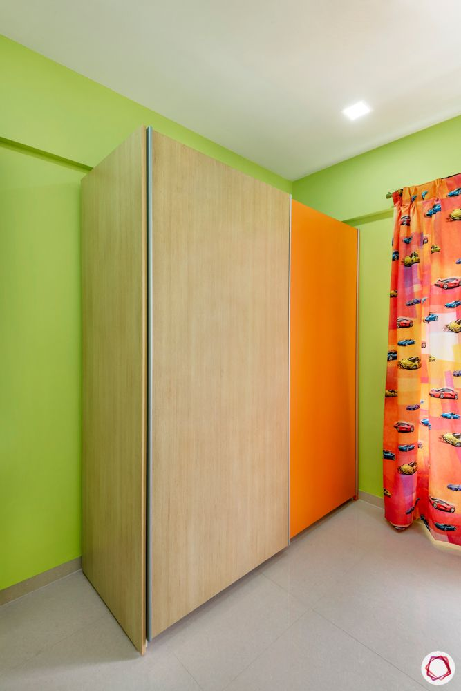 green bedroom designs-orange wardrobe designs