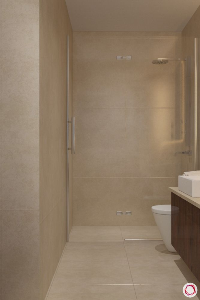 bathroom design mistakes-wet zone-shower area-glass screen-dry zone