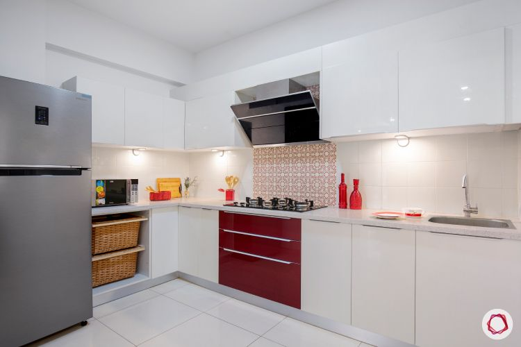 how to make a kitchen look brighter-task lights-red cabinets-highlighter lights