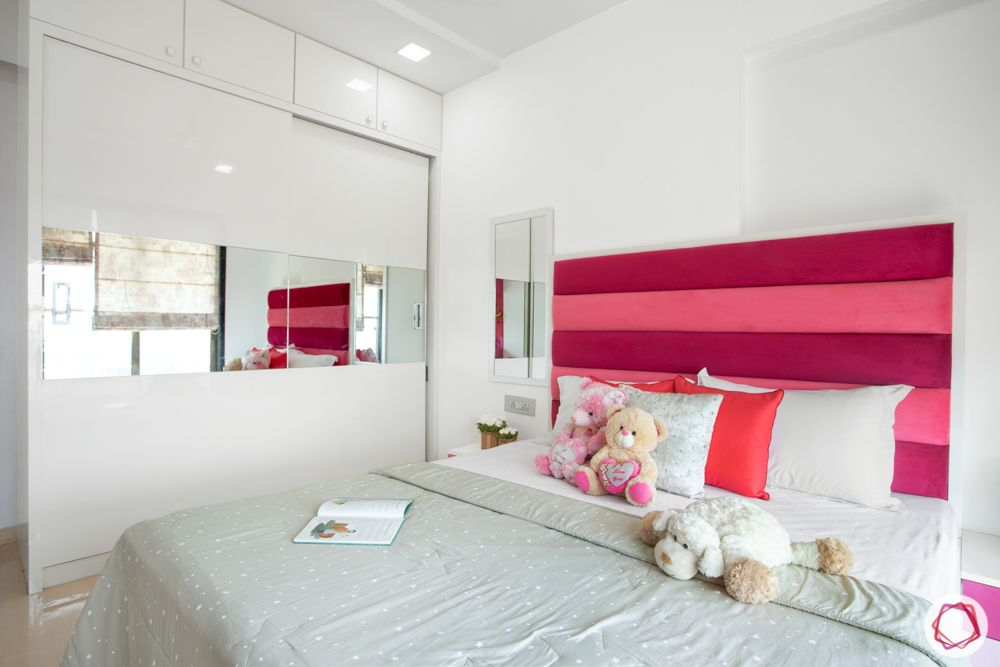 2-bhk-in-mumbai-kids bedroom-wardrobe-pink and white theme