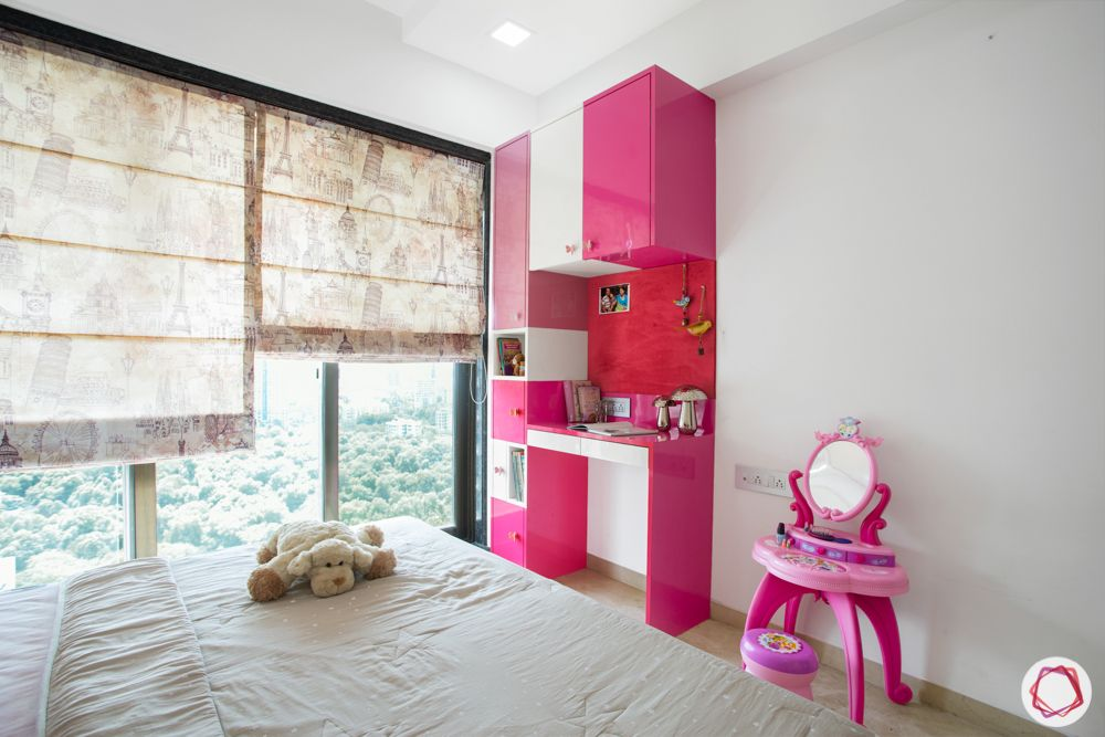 2-bhk-in-mumbai-kids bedroom-study table-pink study unit