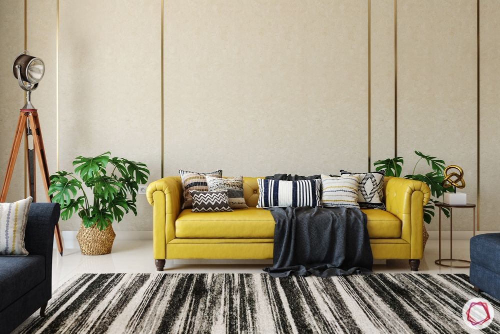 beige wall colour-yellow couch ideas