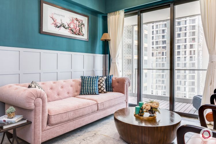 pink couch designs-blue wall colour