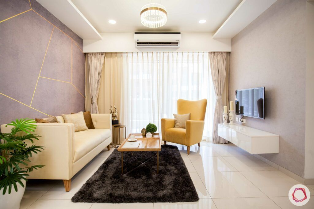 2bhk pune-yellow accent chair-tv unit