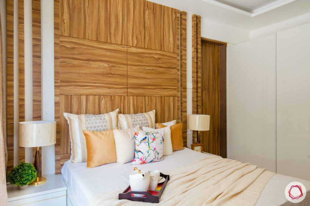 2bhk pune-neutral colours-wooden headboard