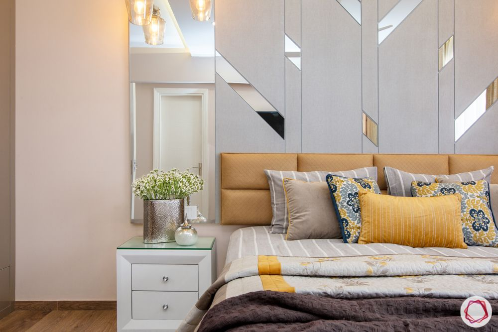 bestech grand spa-mirror detail-white side table-metallic bedroom colours