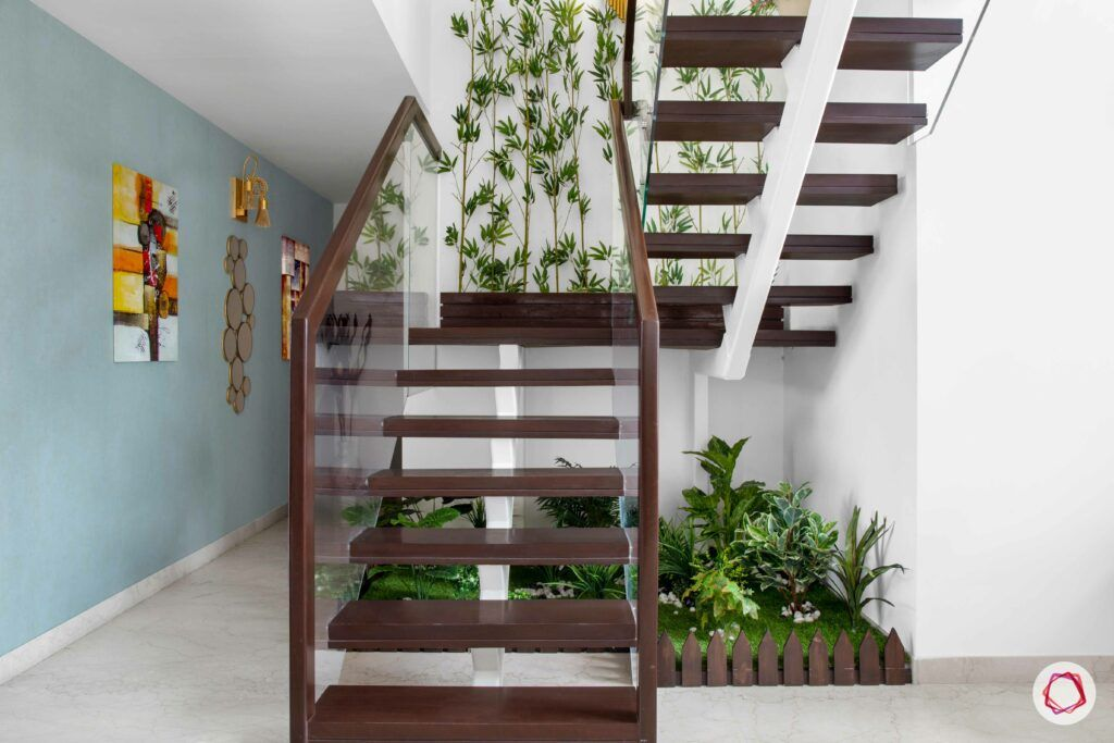 stair railing design-tiny garden-wooden stairs-glass railing