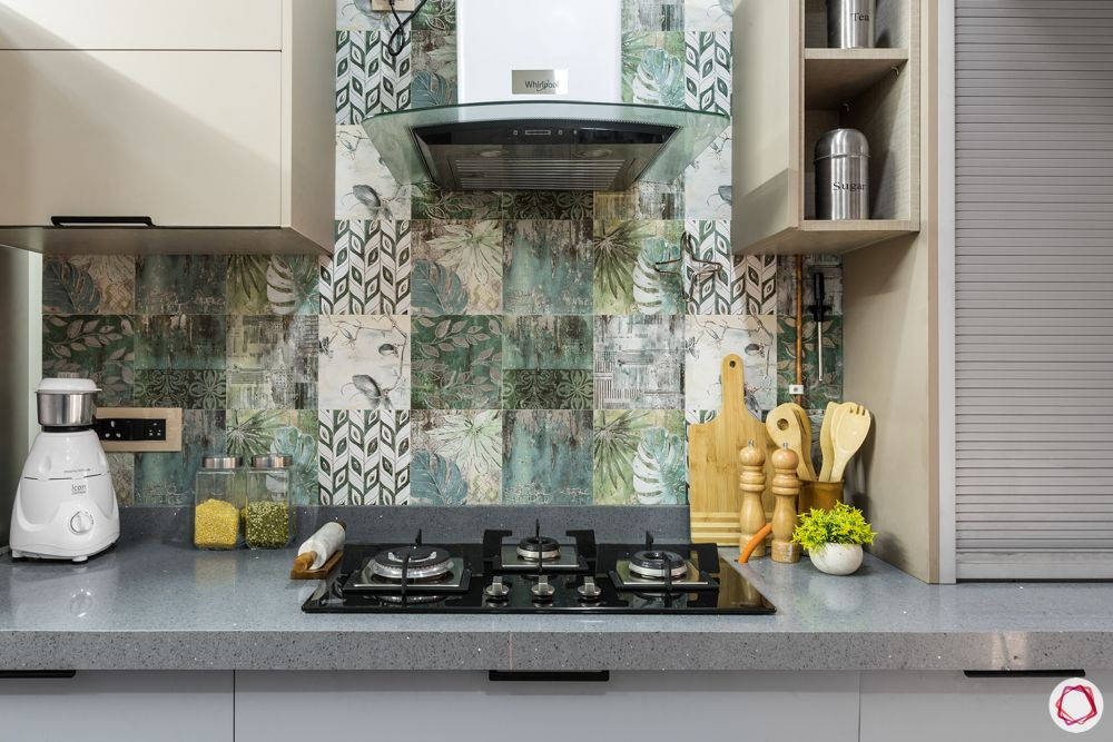 two toned kitchen designs-textured ceramic tiles