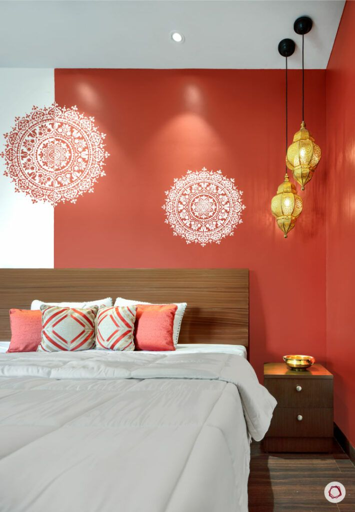 festive lights-pendant lights-bedroom-study table-red and white wallpaper