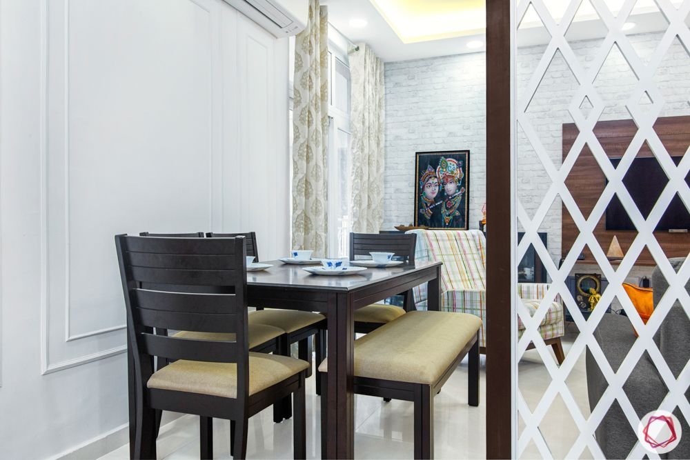 mahagun mywoods-livspace noida-dining room-wooden dining table