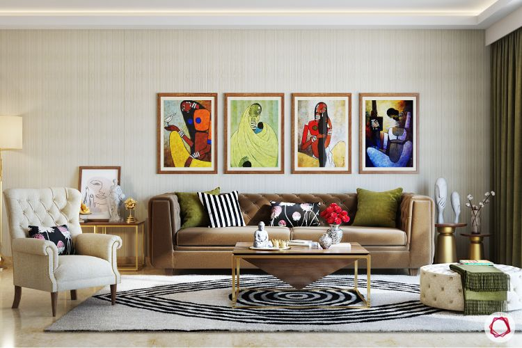 indian artwork paintings-brown couch designs