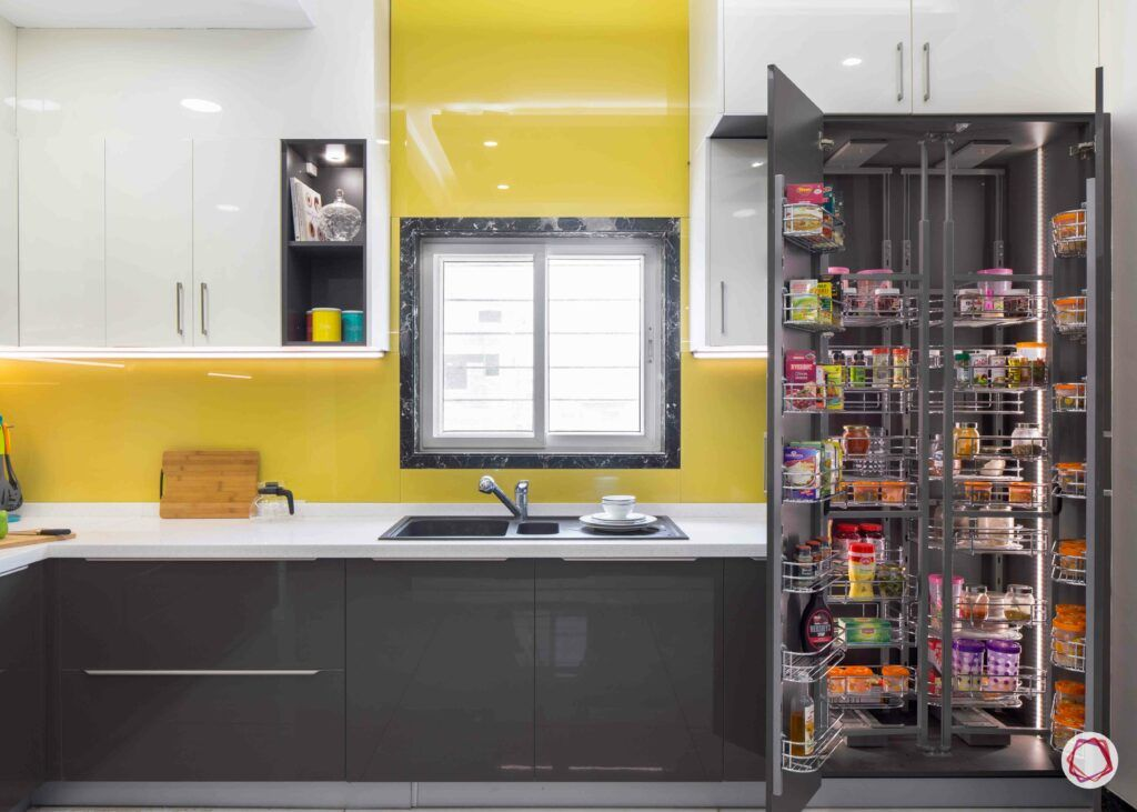 modular kitchen design images-tall storage unit-yellow kitchen-sink