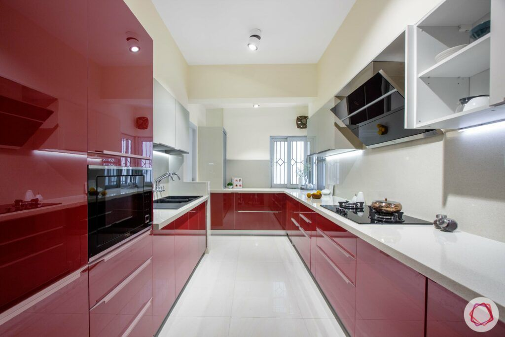 modular kitchen design images-parallel kitchen-red and white-tall unit