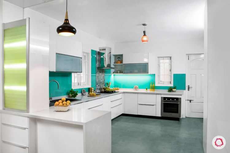 modular kitchen design images-aquamarine blue kitchen-mosaic tiles-white countertop