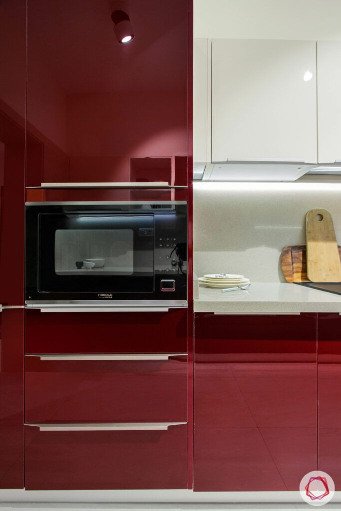 modular kitchen design images-tall unit-acrylic finish-seamless drawer handles