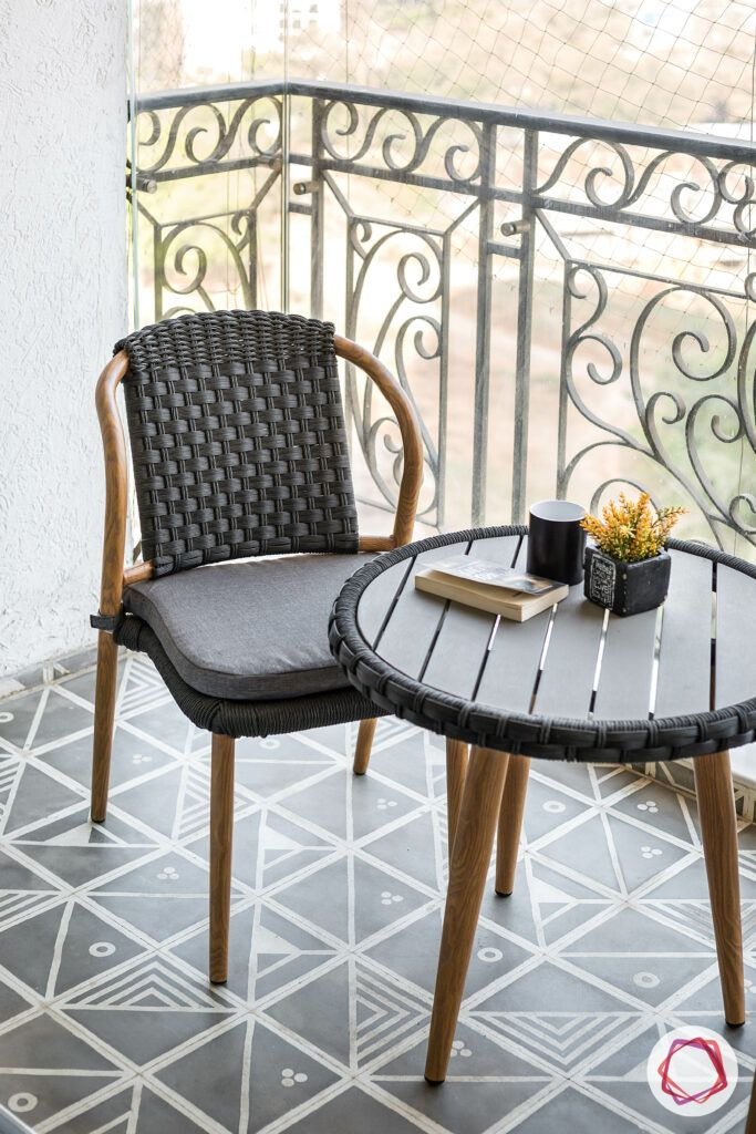 types of tiles-black chair-balcony furniture