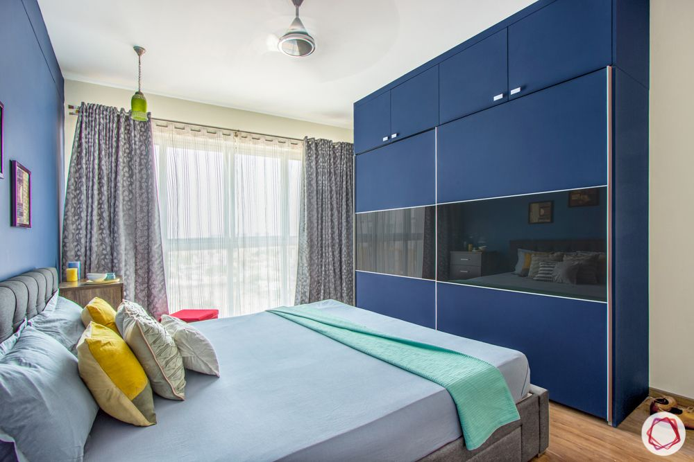 interior design bangalore-3-bhk-in-bangalore-master bedroom-membrane wardrobe-sliding
