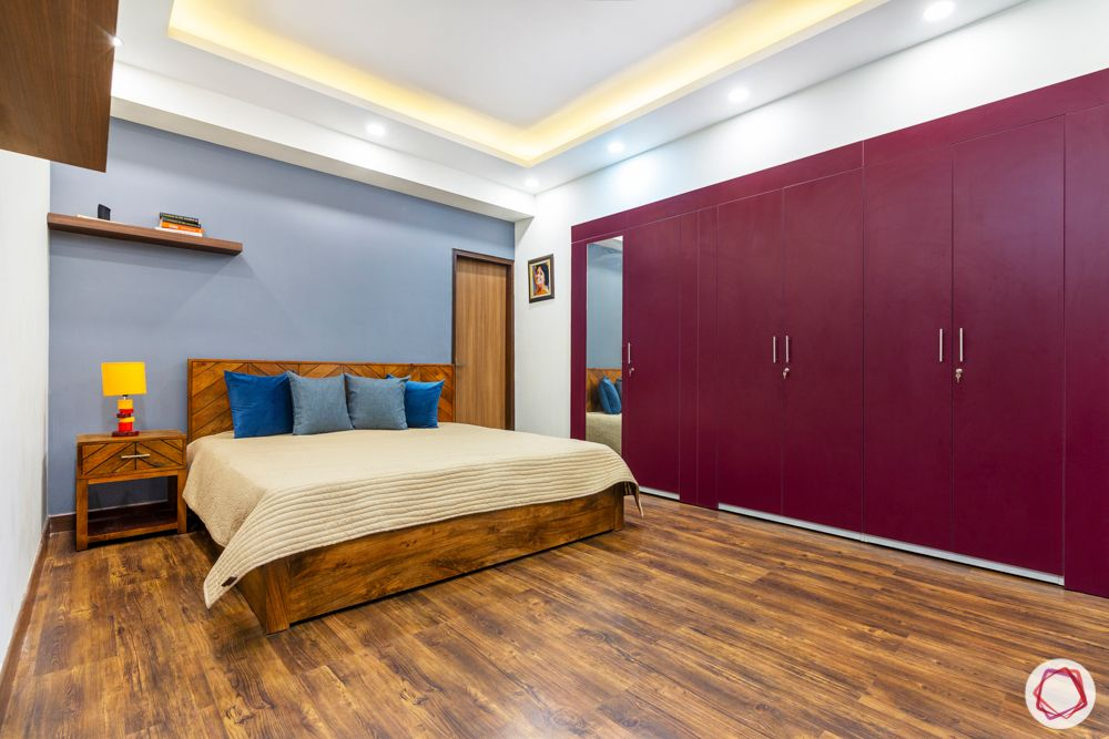jal vayu vihar-red wardrobe-grey wall