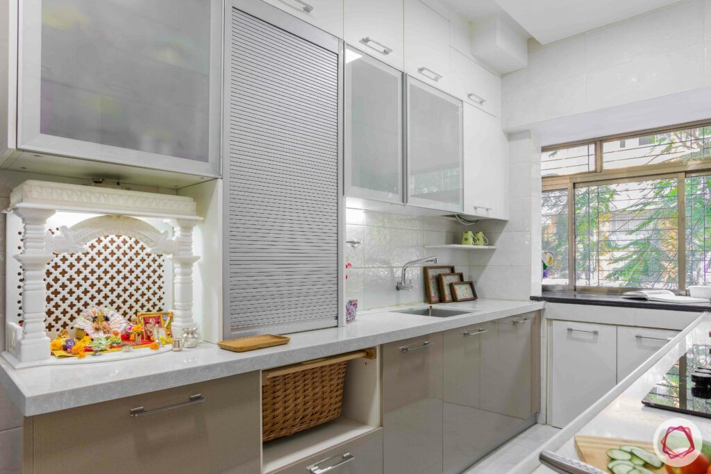 interior design company in mumbai-laminate finish cabinets-roller shutter unit-modular kitchen-wicker basket