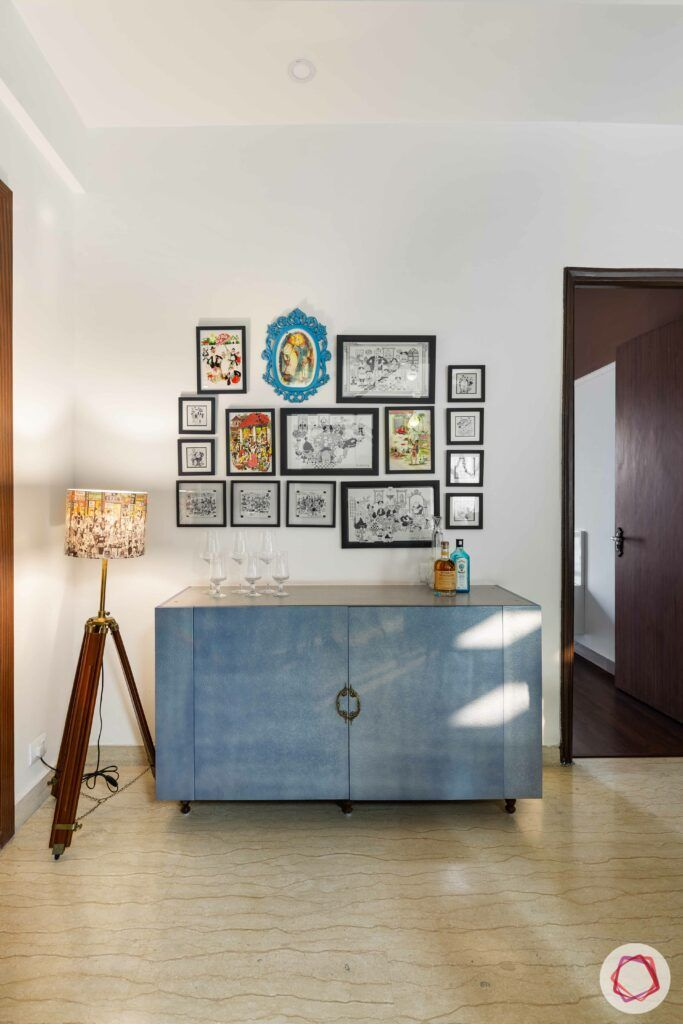 blue console designs-gallery wall-floor-lamp