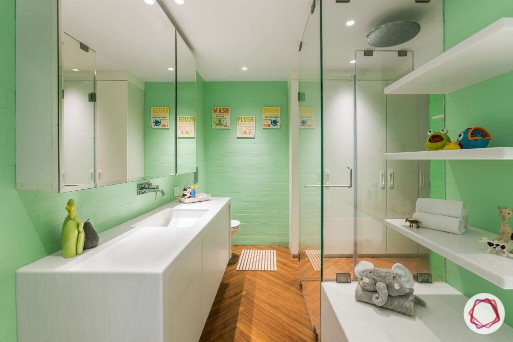 bathroom-colors-minty-green-wall-white-sink-wooden-floor-mirror
