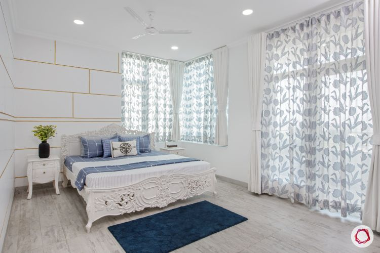modern bedroom designs-white bedroom-sheer curtains