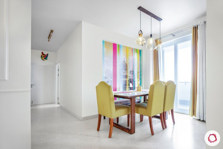 dining-room-makeover-pictures-green-chairs-wallpaper-lighting