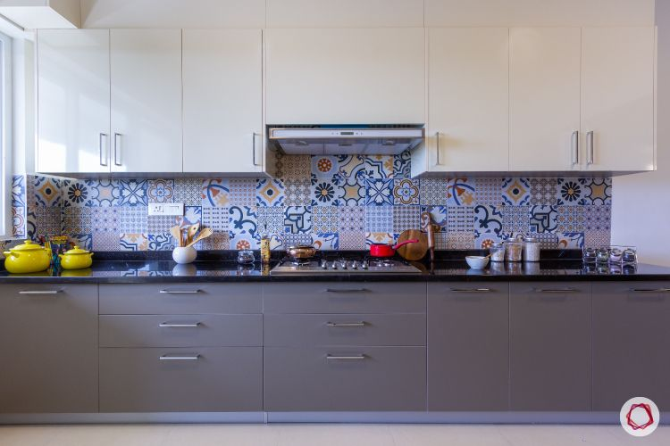 how to design a kitchen on a budget-laminate finish cabinets-granite countertops-tiled backsplash
