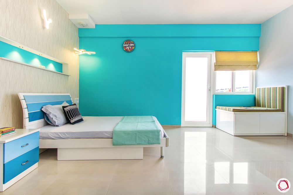 bangalore home-blue wall colour ideas-blue headboard designs